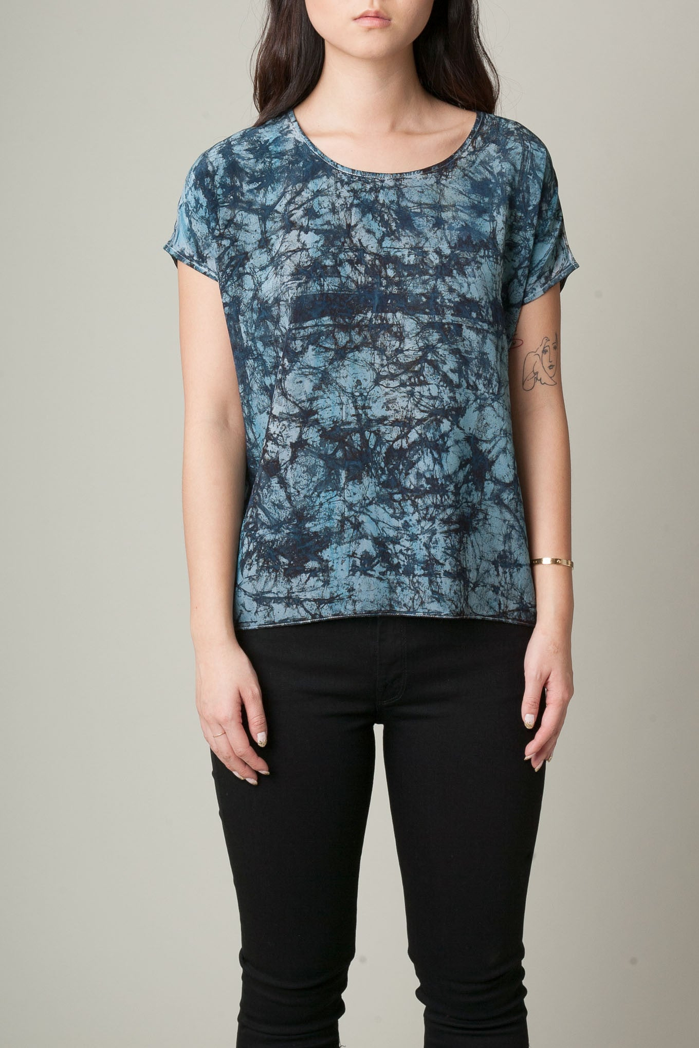 Blue Static Hand Painted Silk Tee