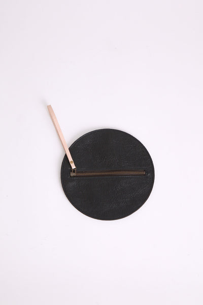Round Metallic Zip Pouch in Obsidian
