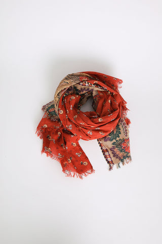 Rust Floral Cotton Stripe Scarf