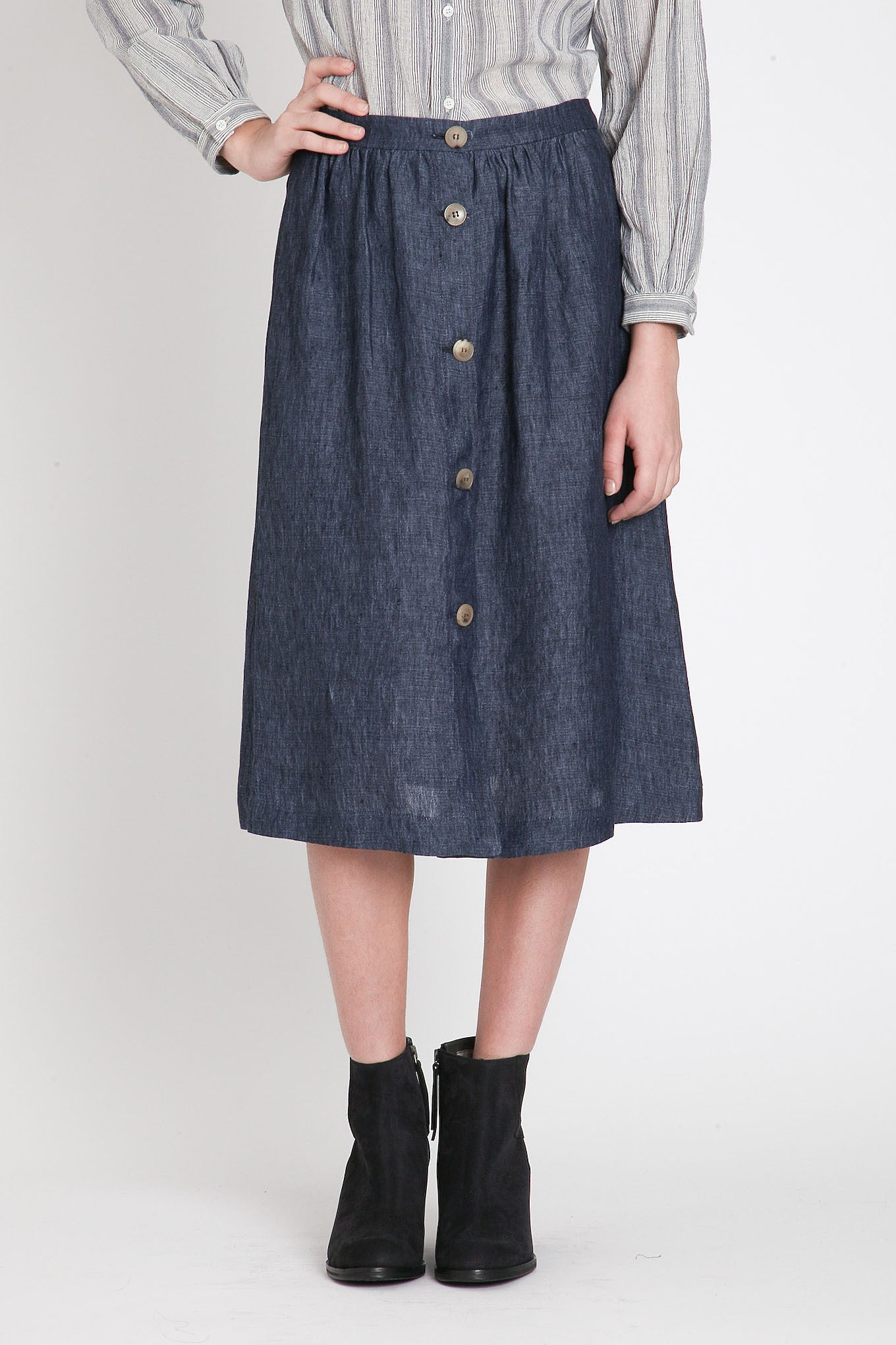 Masscob / Denim Button Front Skirt