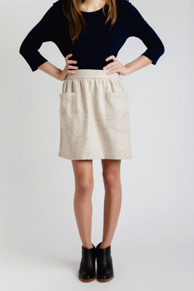 A. Cheng / Oatmeal Tweed Two Pocket Skirt