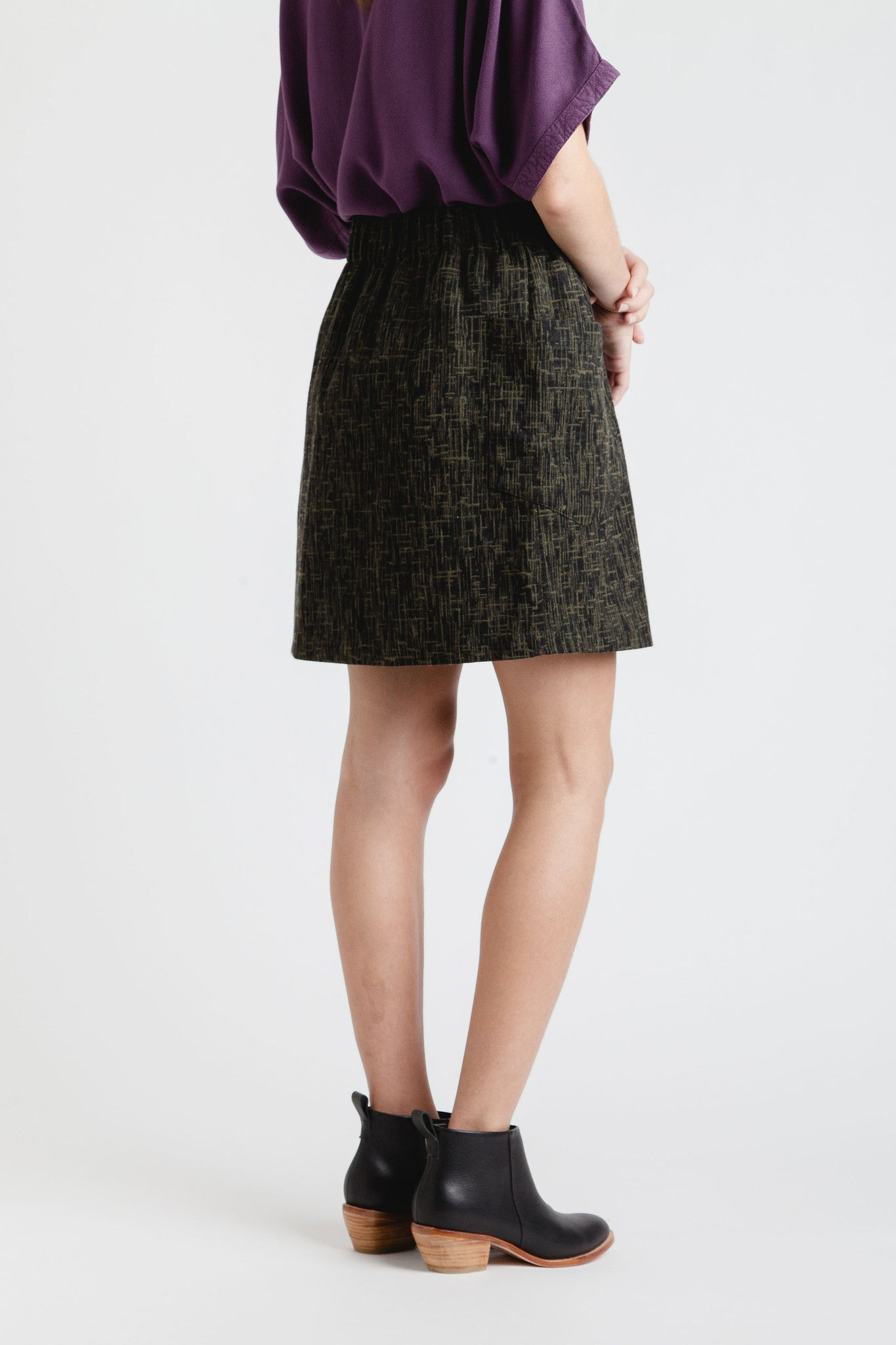 A. Cheng / Olive Tweed Two Pocket Skirt