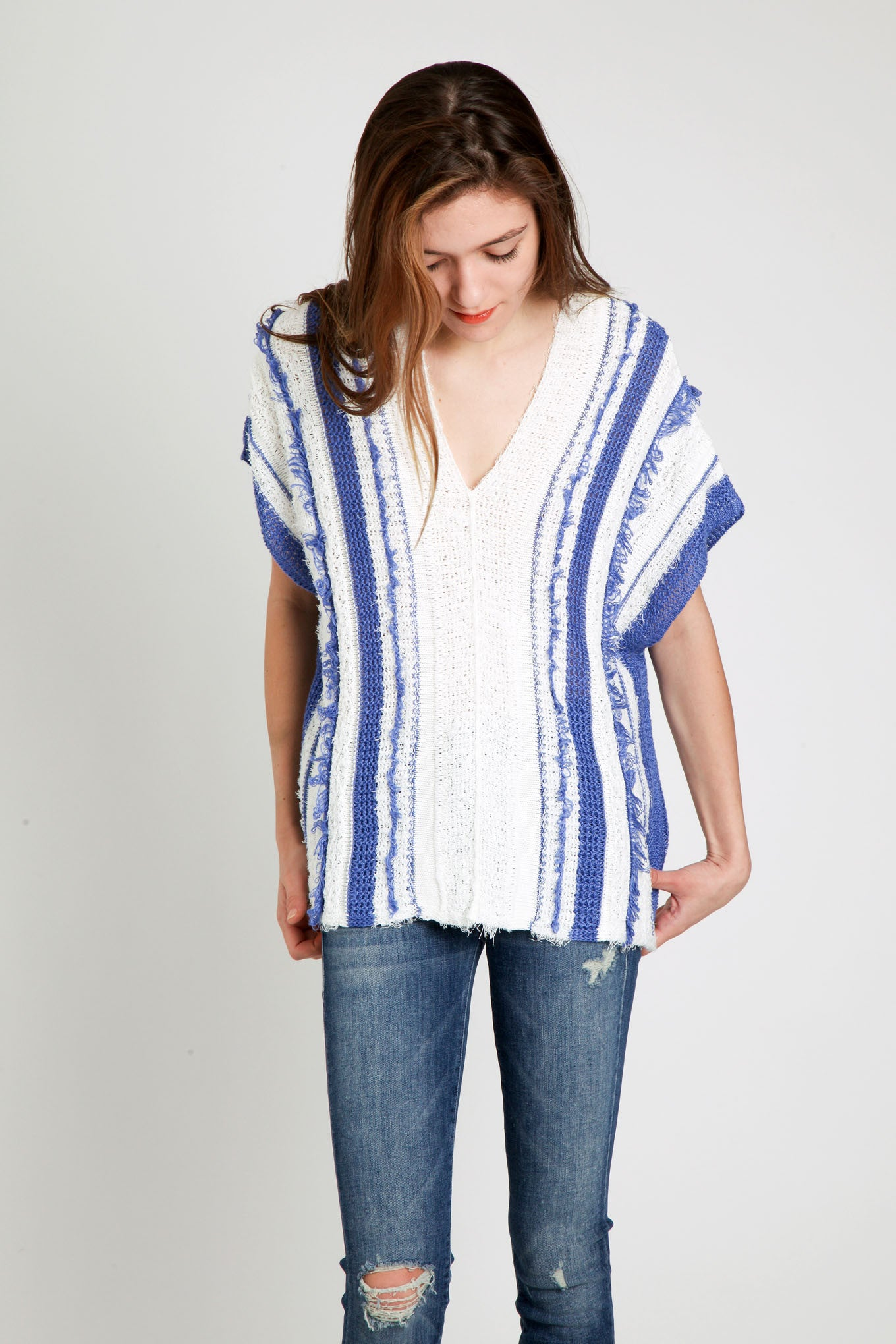 Sita Murt / Blue & White Sweater Poncho
