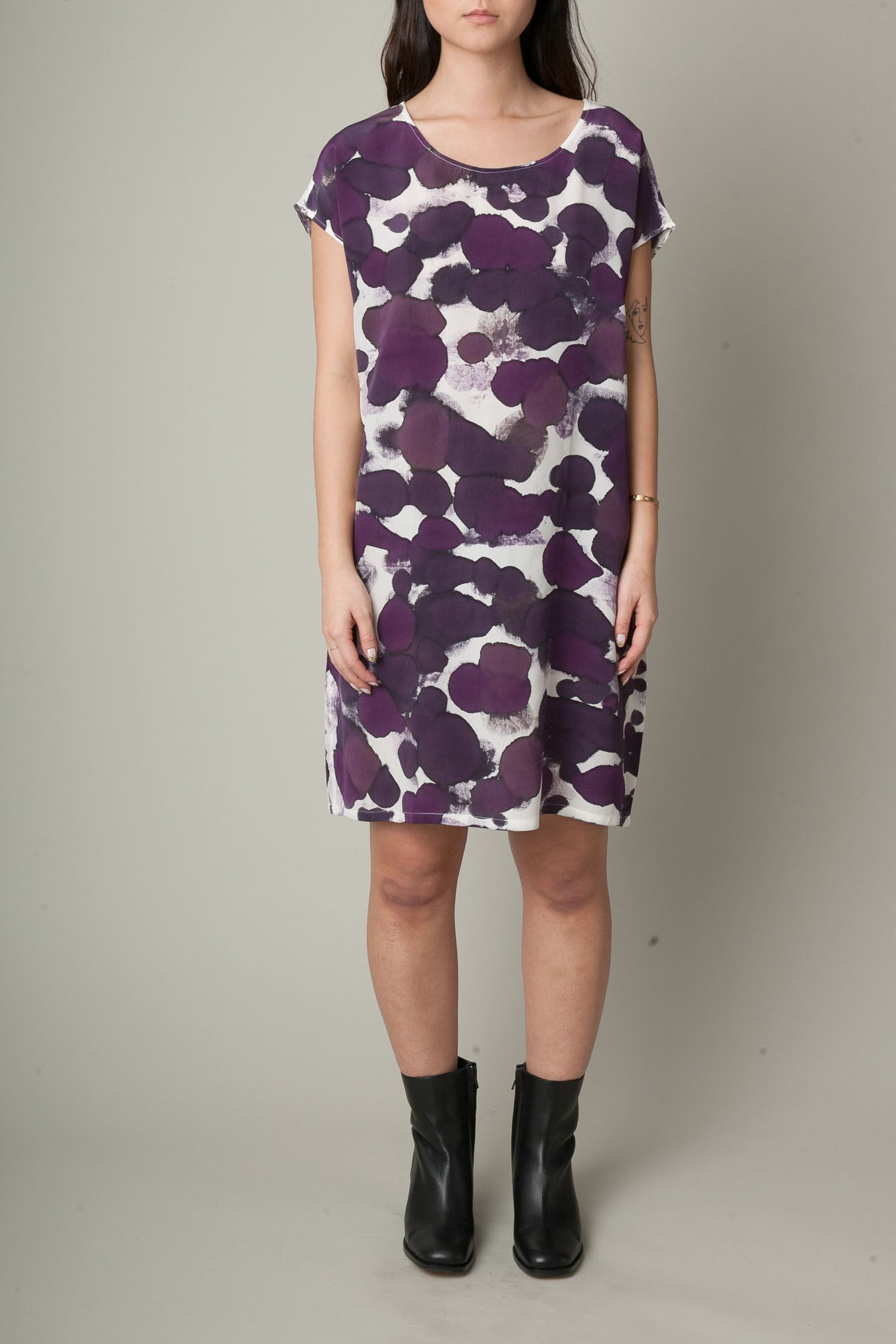 All Over Print Hand Painted Silk Dress