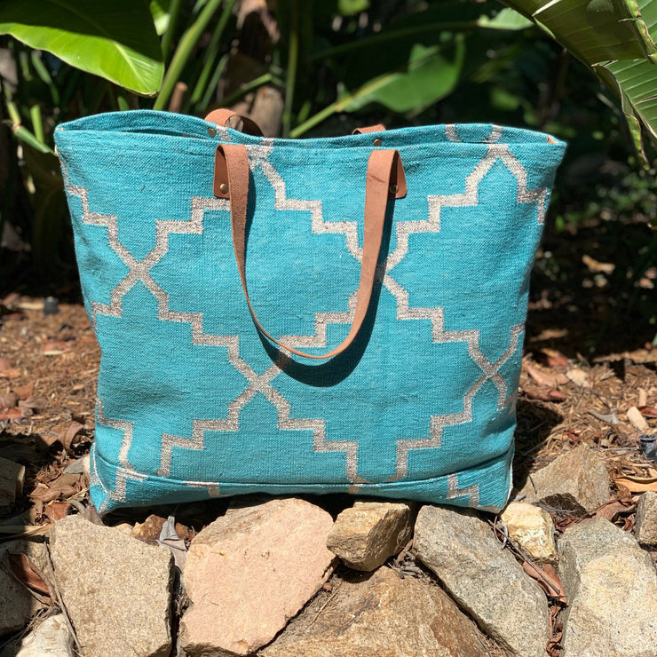 Napa Weekender Tote - Teal and Silver