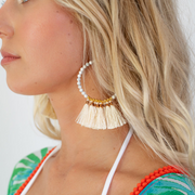 Ivory Tassel Hoop Earrings