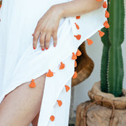 Positano Caftan in White with Orange Tassel