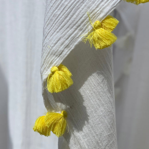 Positano Caftan in White with Yellow Tassel