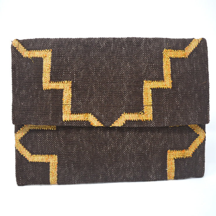 Mojito Clutch - Brown and Gold