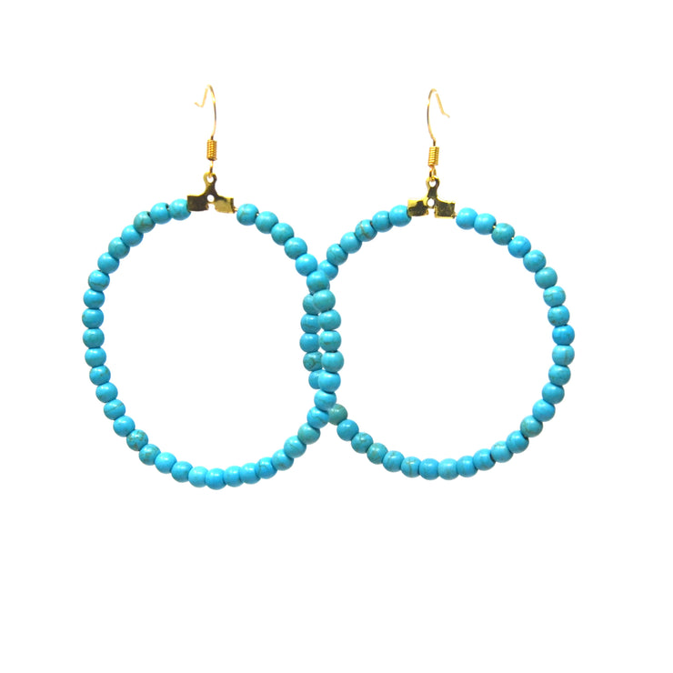 Beaded Turquoise Hoop Earrings