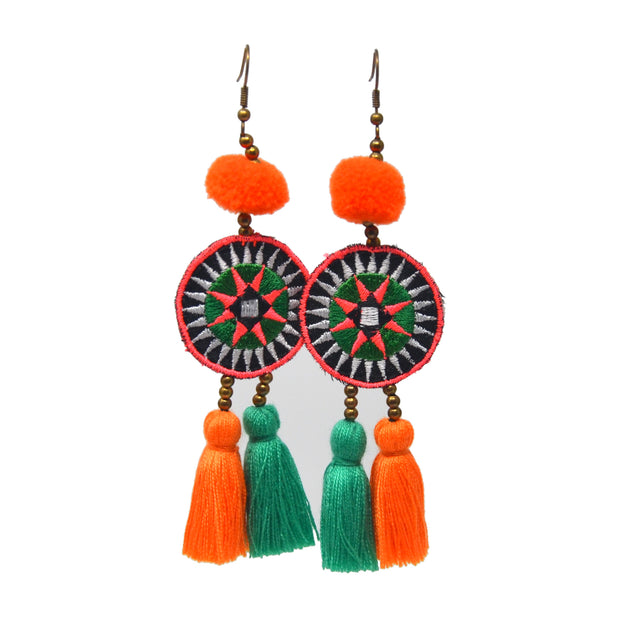 Triple Layer Earrings - Orange