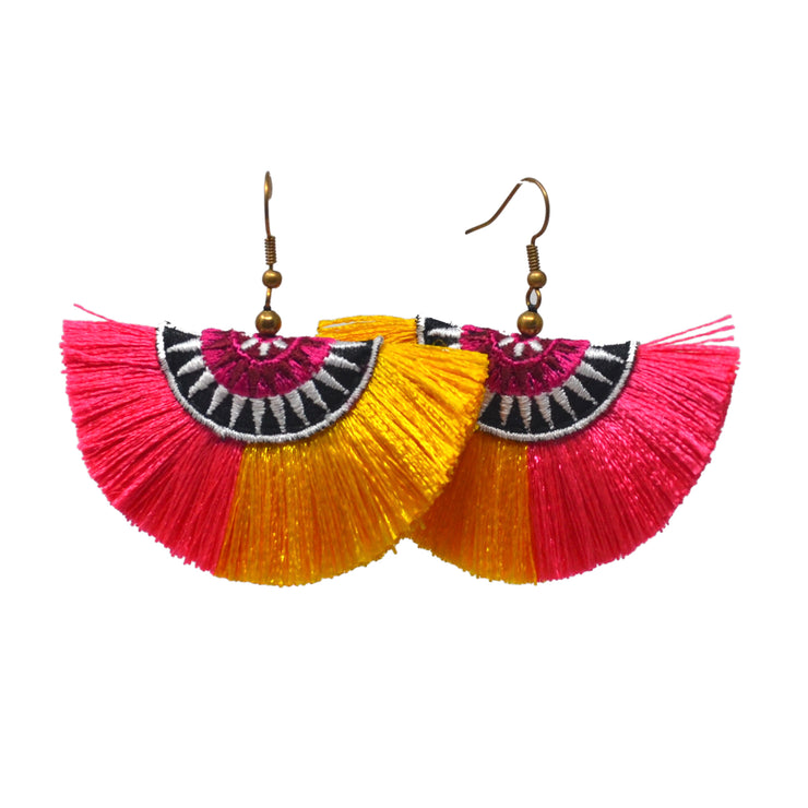 Orange Fan Earrings