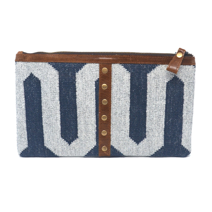 Cosmo Clutch - Navy and Silver