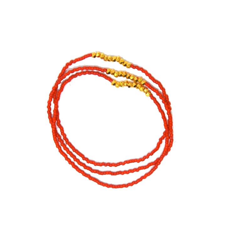 Beaded Orange Trio Bracelet