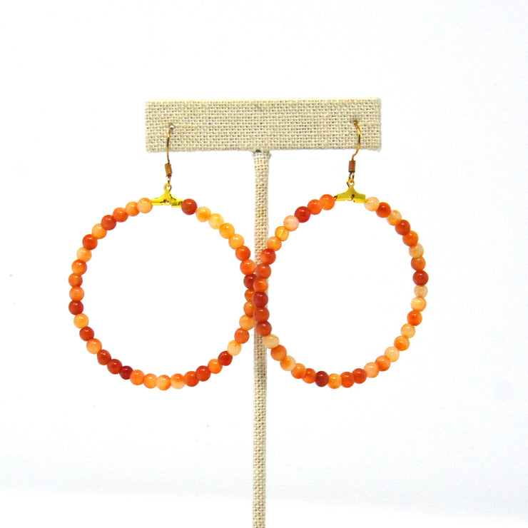Beaded Tangerine Hoop Earrings
