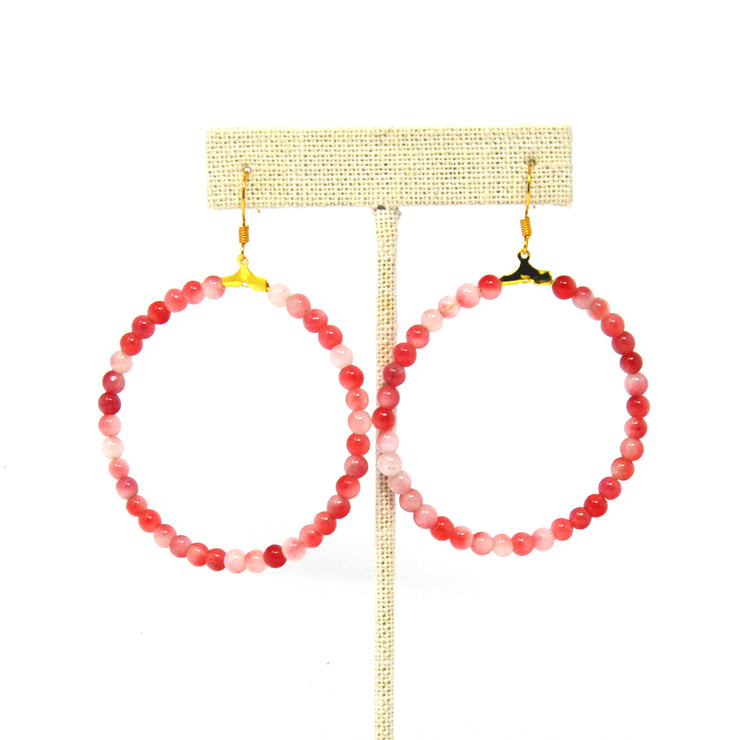 Beaded Pink Hoop Earrings