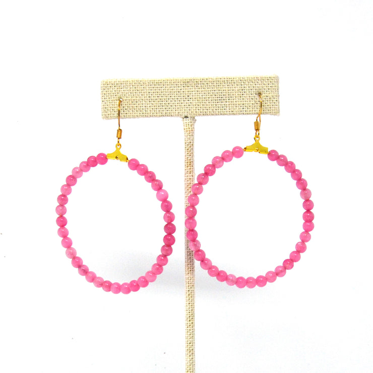 Beaded Flamingo Pink Hoop Earrings