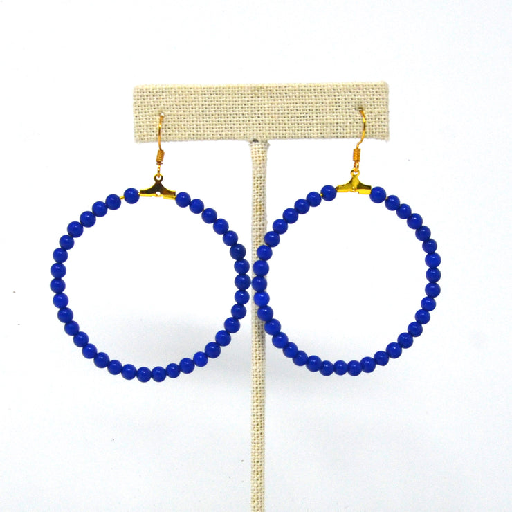 Beaded Sapphire Blue Hoop Earrings
