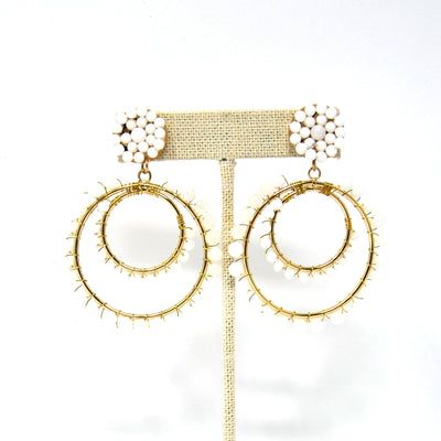 White Double Hoop Earrings