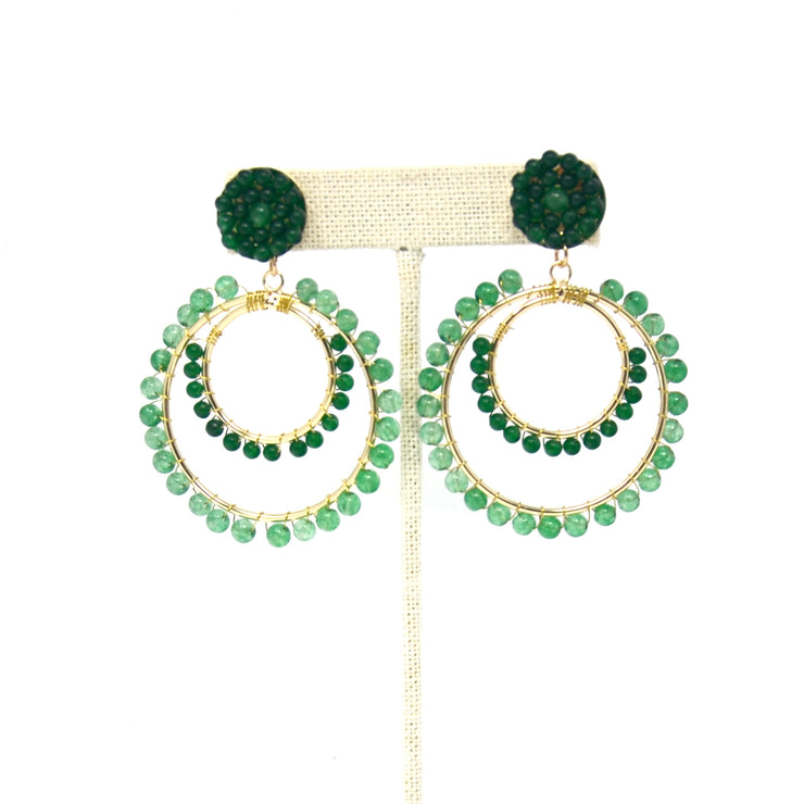 Emerald Double Hoop Earrings