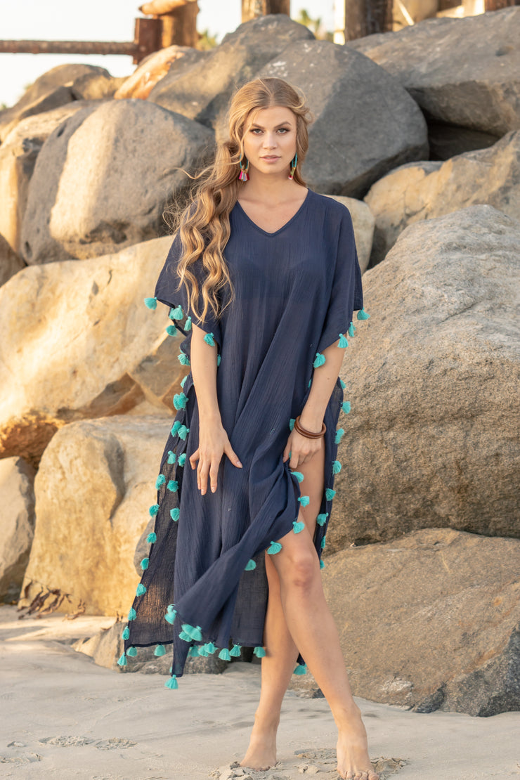 Positano Caftan in Navy with Turquoise Tassel