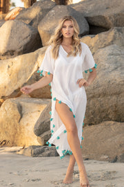 Positano Caftan in White with Turquoise Tassel