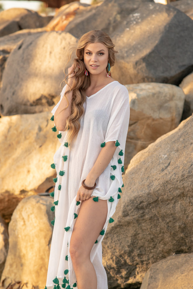 Positano Caftan in White with Emerald Tassel