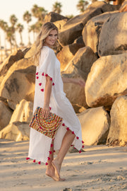 Positano Caftan in White with Fuchsia Tassel