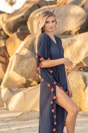 Positano Caftan in Navy with Orange Tassel