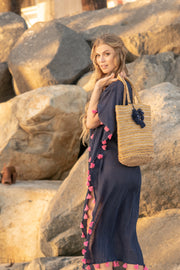 Positano Caftan in Navy with Flamingo Tassel