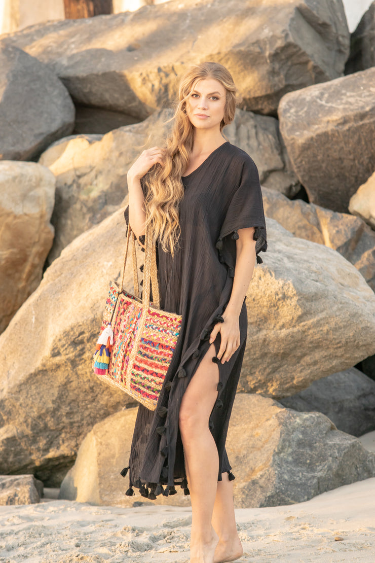 Positano Caftan in Black with Black Tassel