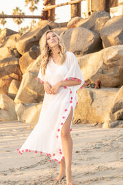 Positano Caftan in White with Flamingo Tassel