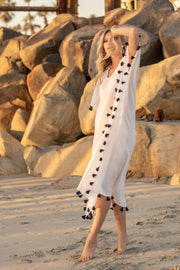 Positano Caftan in White with Navy Tassel