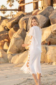 Positano Caftan in White with White Tassel