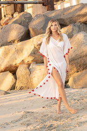 Positano Caftan in White with Scarlet Tassel