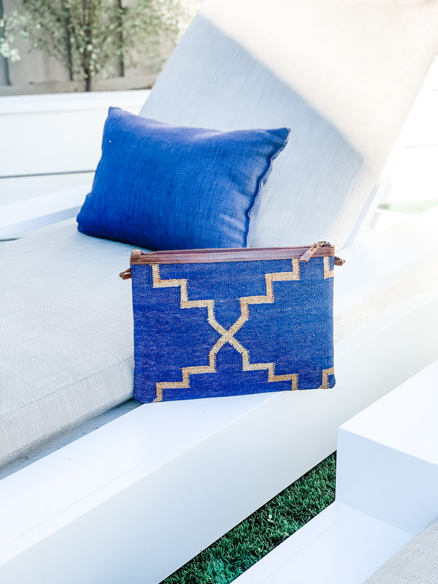 Napa Clutch in Navy & Gold