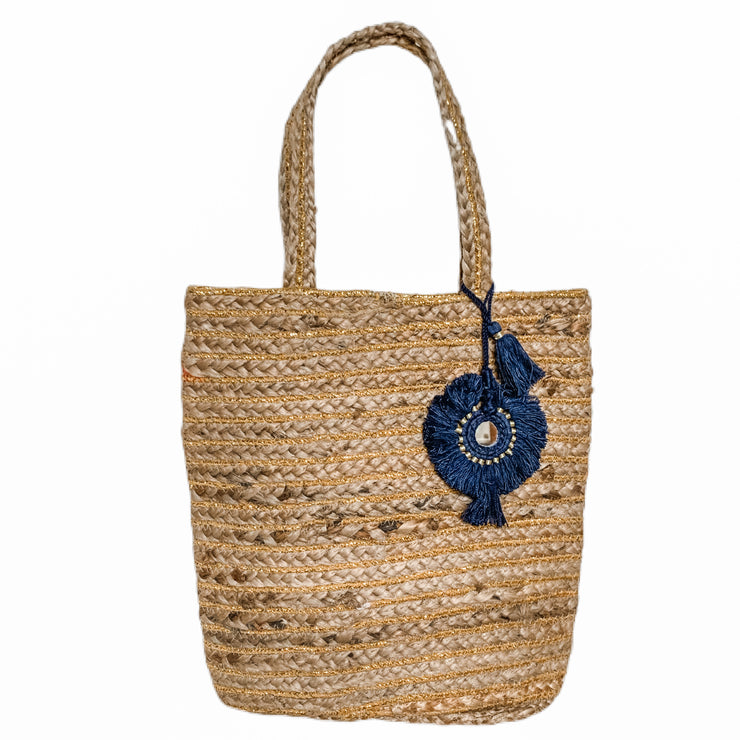 Bellini Jute Bag with Navy Tassel