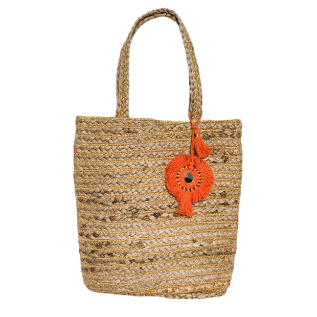 Bellini Jute Bag with Orange Tassel