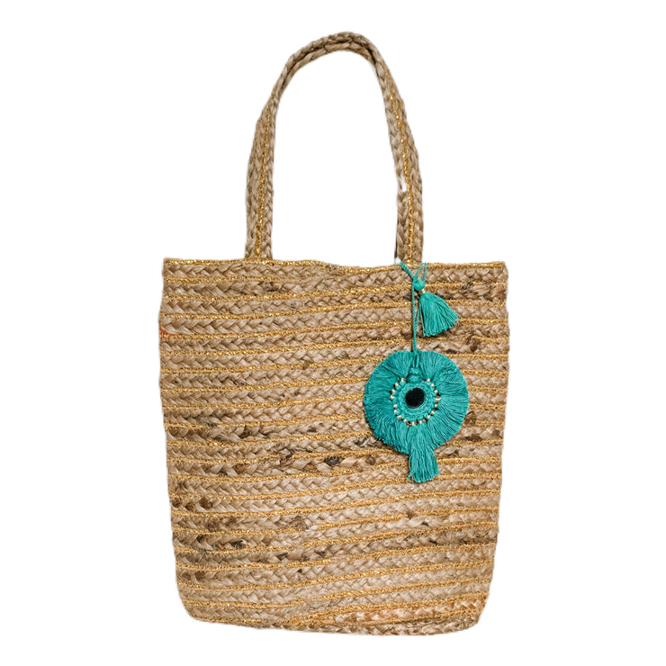 Bellini Jute Bag with Turquoise Tassel
