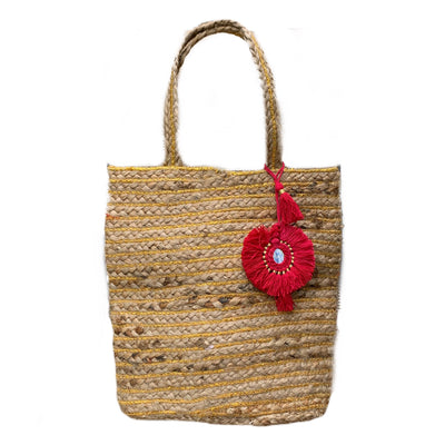 Bellini Jute Bag with Raspberry Tassel