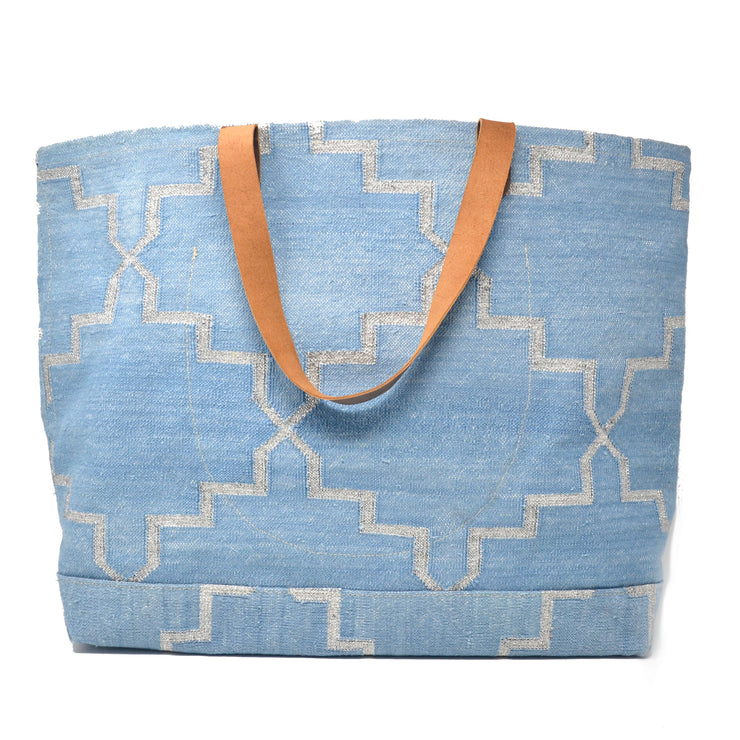 Napa Weekender Tote - Blue and Silver