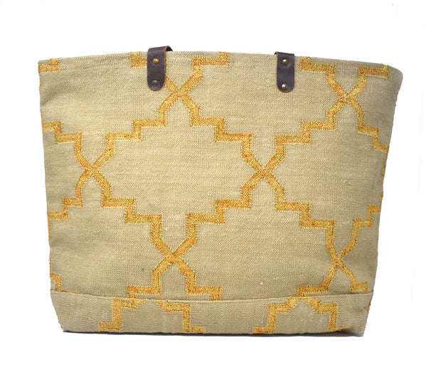Napa Weekender Tote - Tan and Gold