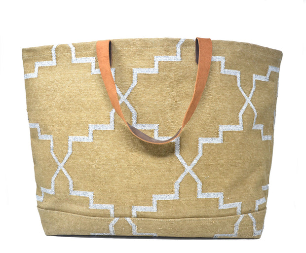 Napa Weekender Tote - Tan and Silver