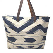 Napa Weekender Tote - Navajo Blue and White