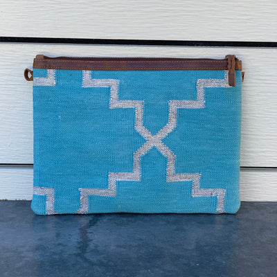Napa Clutch in Teal & Silver