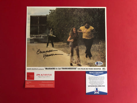 "Gunnar Hansen signed 8"" x 10"" Leatherface Texas Chainsaw Massacre Original Lobby Card - Beckett COA"