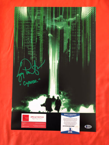 "Joe Pantoliano signed 12""x18"" The Matrix Poster - Beckett COA"