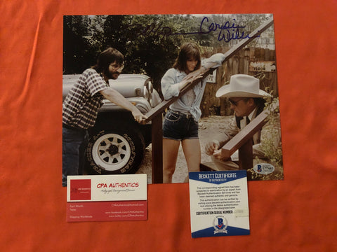 "Tobe Hooper Caroline Williams signed 8""x10"" Texas Chainsaw Massacre 2 Leatherface Photo - Beckett COA"