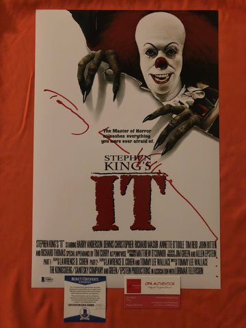 "Tommy Lee Wallace signed 12""x18"" IT Pennywise Poster - Beckett COA"