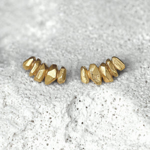 String Crystal Earrings - Golden